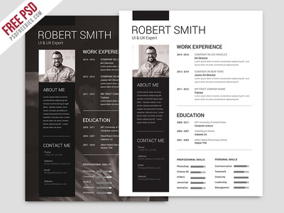 Freebie : Simple and Clean Resume Free PSD Template