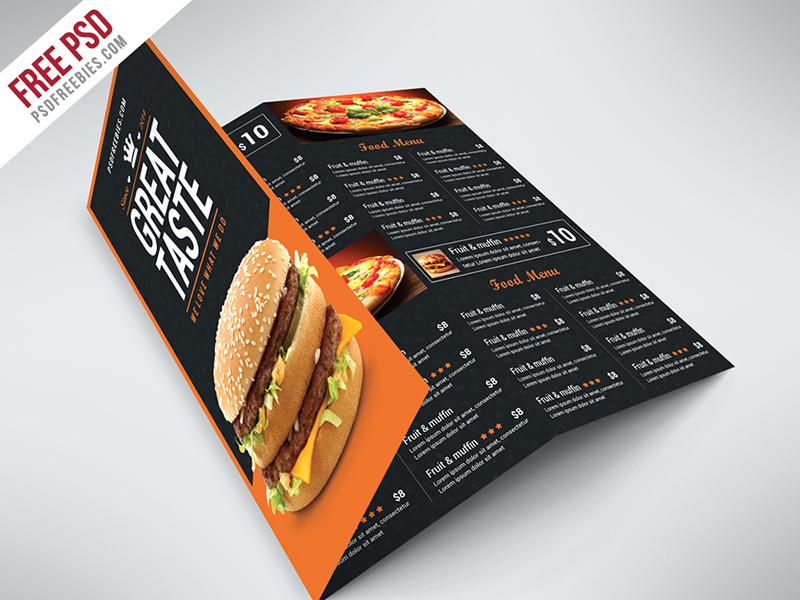 Freebie Fast Food Menu Trifold Brochure Free PSD Psd