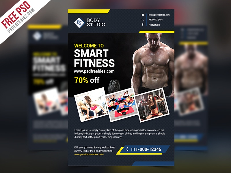 freebie fitness or gym flyer template free psd by psd freebies