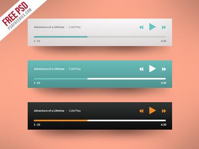 Freebie : Media Player Application Flat Design Free PSD