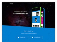 One page app landing free psd template preview