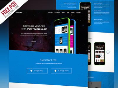 Freebie : One Page App Landing Free PSD Template