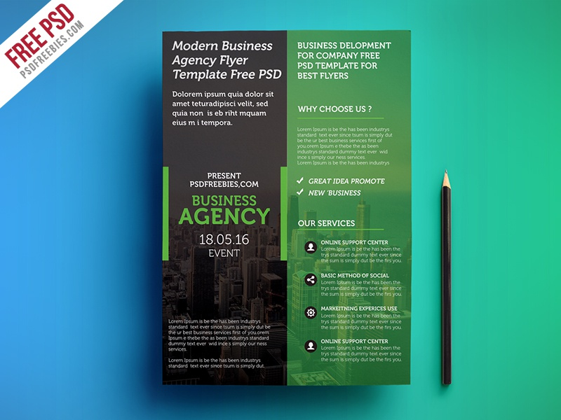 freebie modern business agency flyer template free psd by psd