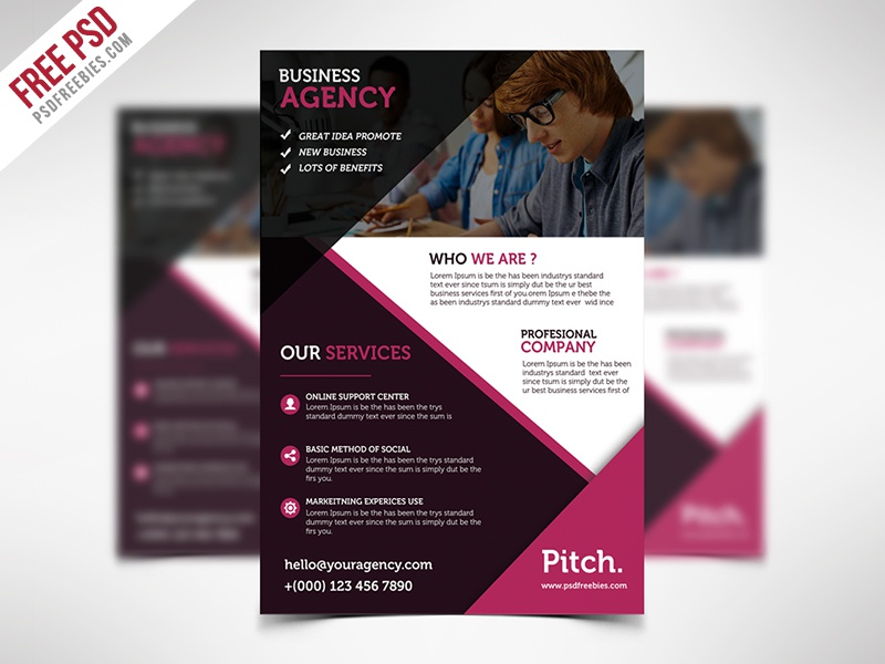 freebie clean and professional business flyer free psd by psd