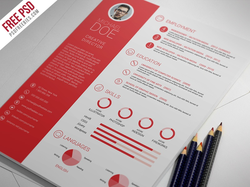 Freebie : Clean And Professional Resume Free Psd Template resume psd resume psd professional resume print template photo resume modern resume freebie free psd creative resume corporate resume clean resume