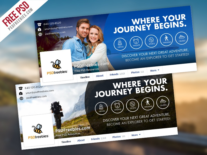 freebie   travel facebook timeline covers free psd