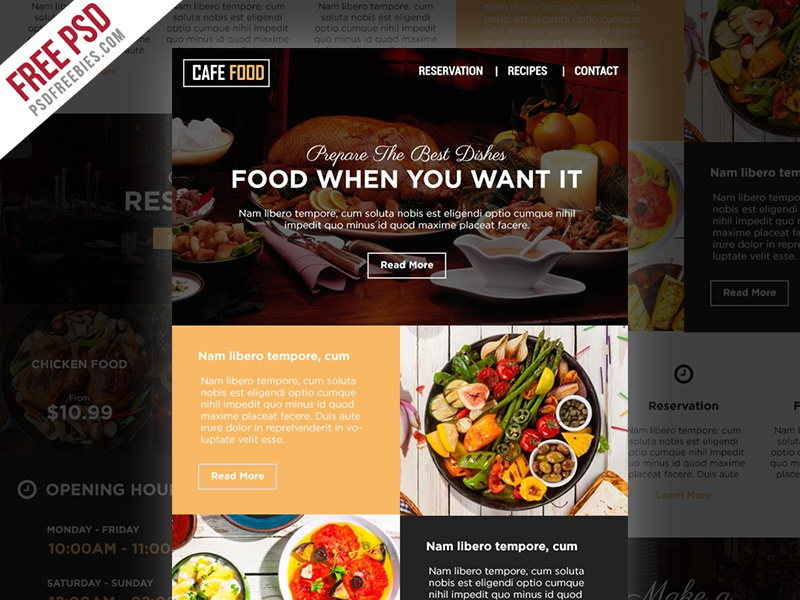 freebie food and restaurant e newsletters free psd template by psd