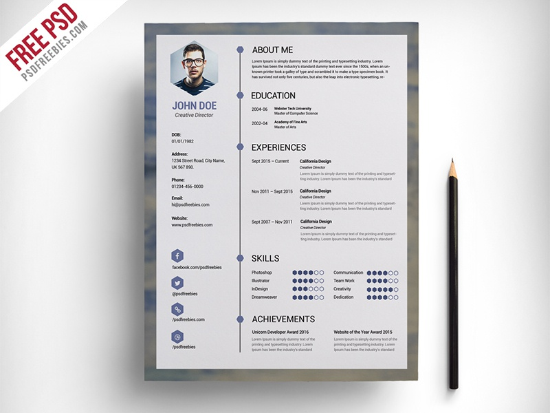 freebie   free clean resume psd template by psd freebies