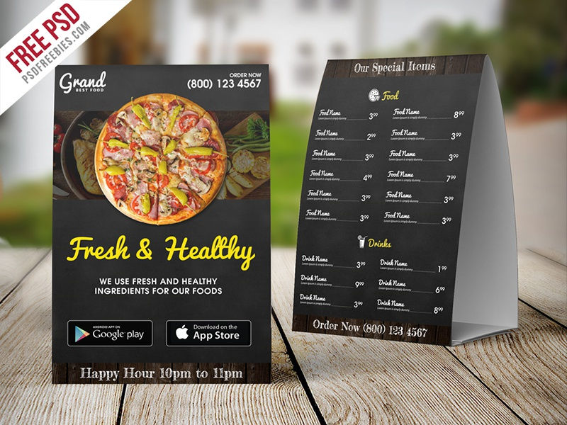 freebie restaurant food menu table tent template free psd by psd