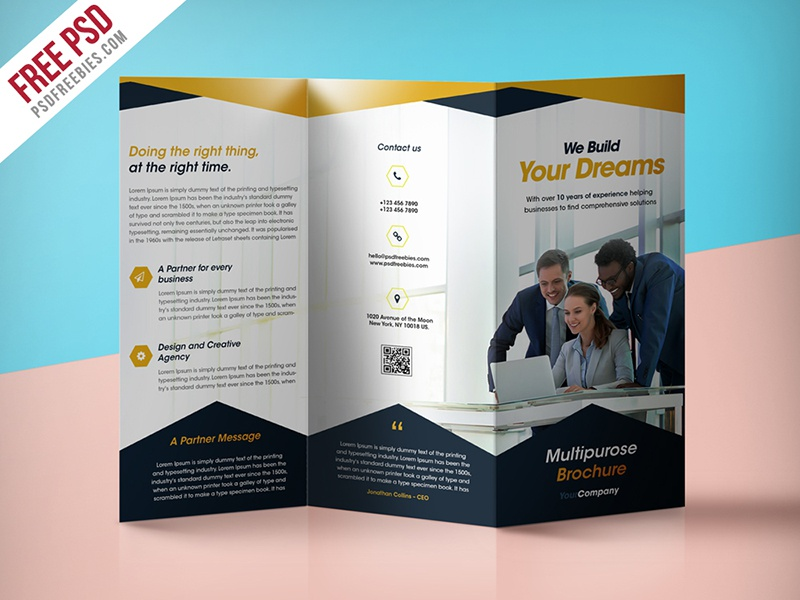 professional corporate tri fold brochure free psd template by psd