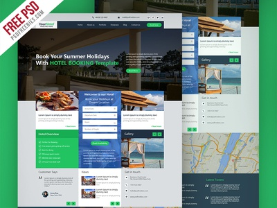 Freebie Hotel And Resort Booking Website Template Free Psd By PSD - Booking website template