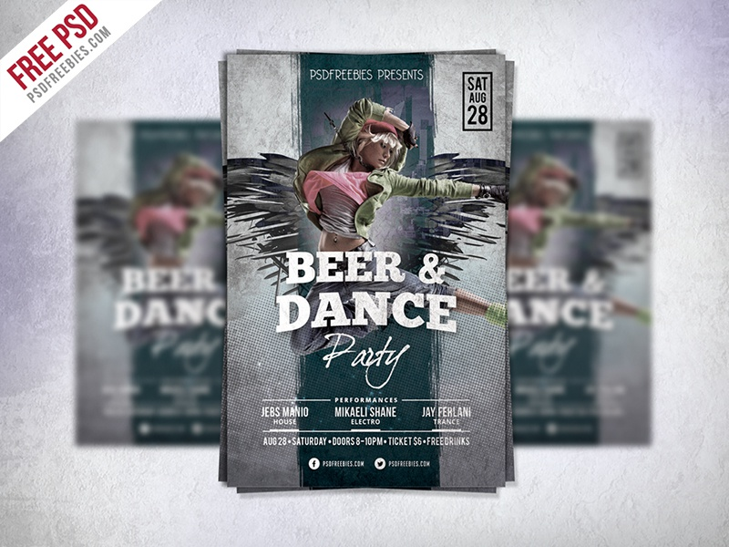 freebie dance party flyer template free psd by psd freebies