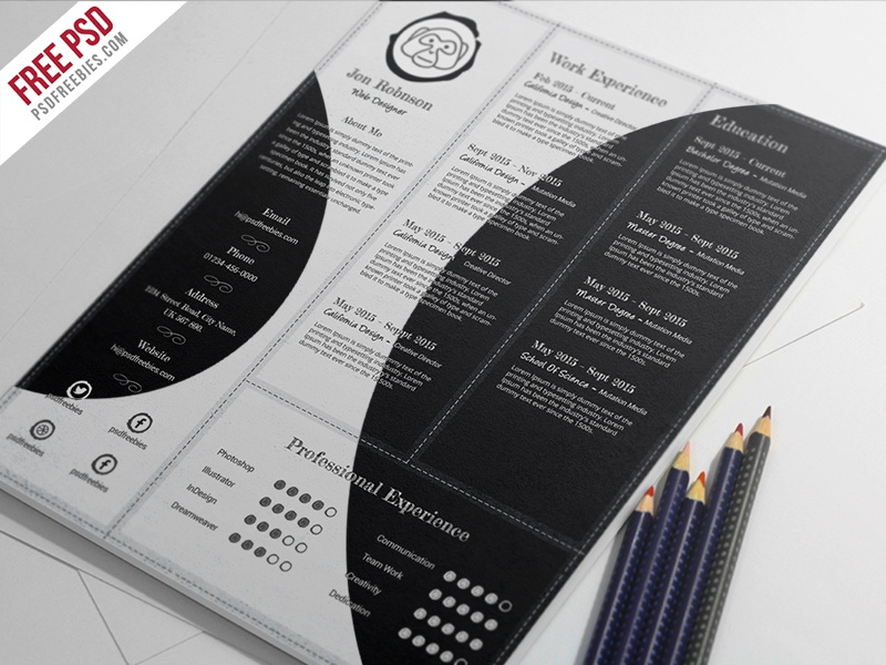 freebie   creative and professional resume free psd template by psd freebies