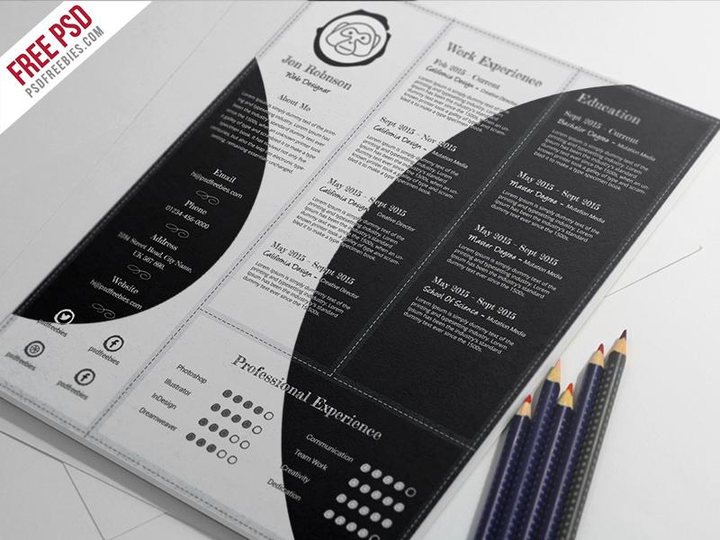 freebie   creative and professional resume free psd template by psd freebies