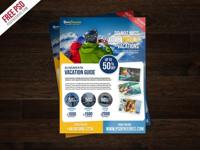 Freebie : Travel Tour And Vacation Flyer Free PSD psd freebie travel agency ads summer vacation flyer holiday flyer psd flyer design creative flyers clean flyer psd travel agency flyer free flyer template psd flyer psd free psd