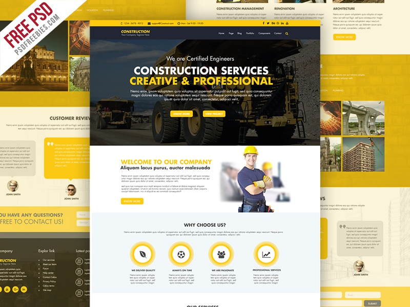Freebie : Construction Company Website Template Free PSD Construction  Website Creative Website Psd Yello Website Free