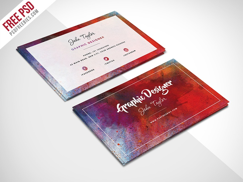 Free Abstract Business Card Psd Template By Psd Freebies Dribbble