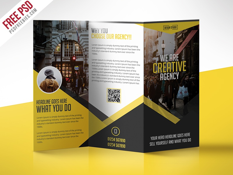 multipurpose trifold business brochure free psd template d by psd