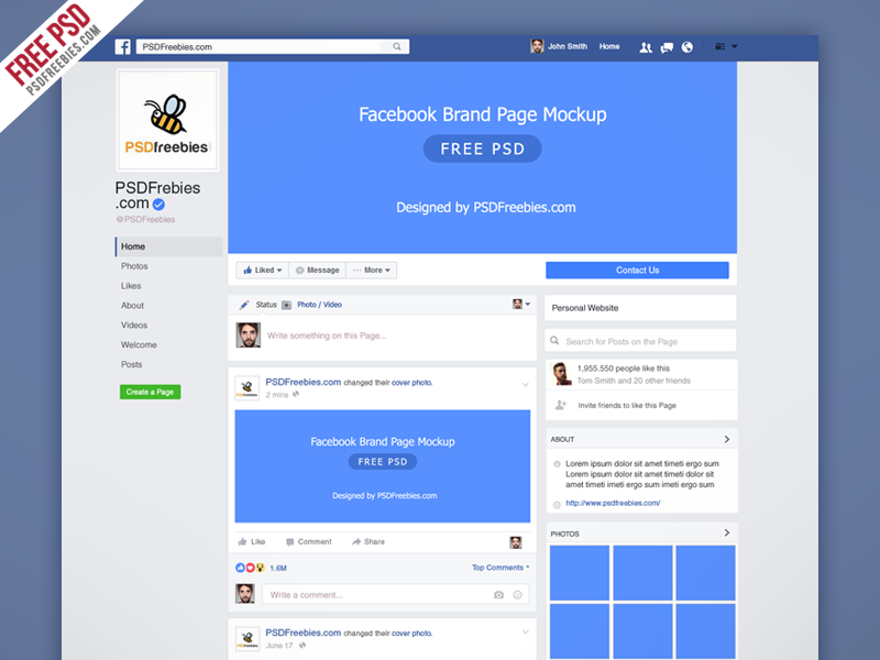Freebie facebook new brand page 2016 mockup psd by psd for Facebook app template psd