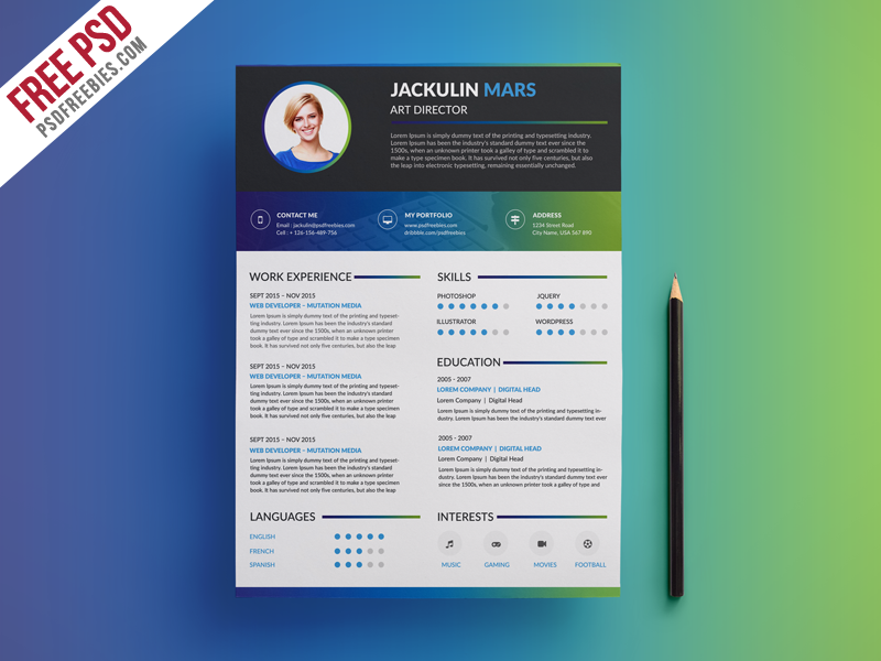 Marvelous Creative Resume Template Free Psd