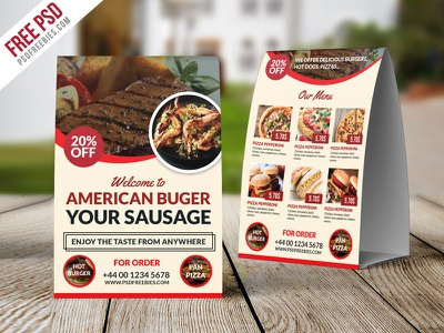 Freebie : Restaurant Table Tent Template Free PSD free psd psd restaurant food menu food menu psd cafe menu psd menu table tent fast food menu psd creative table tent psd