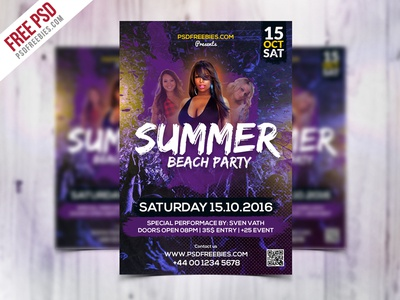 Summer Beach Party Flyer Template Free Psd By Psd Freebies Dribbble