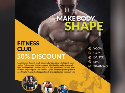 Freebie : Health And Fitness Flyer Bundle Free PSD flyer bundle bodybuilding pamphlet leaflet healthy health fitness print gym flyer flyer psd psd free psd