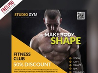 Health and fitness flyer bundle free psd yellow