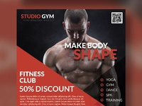 Health and fitness flyer bundle free psd red