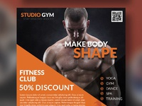 Health and fitness flyer bundle free psd orange