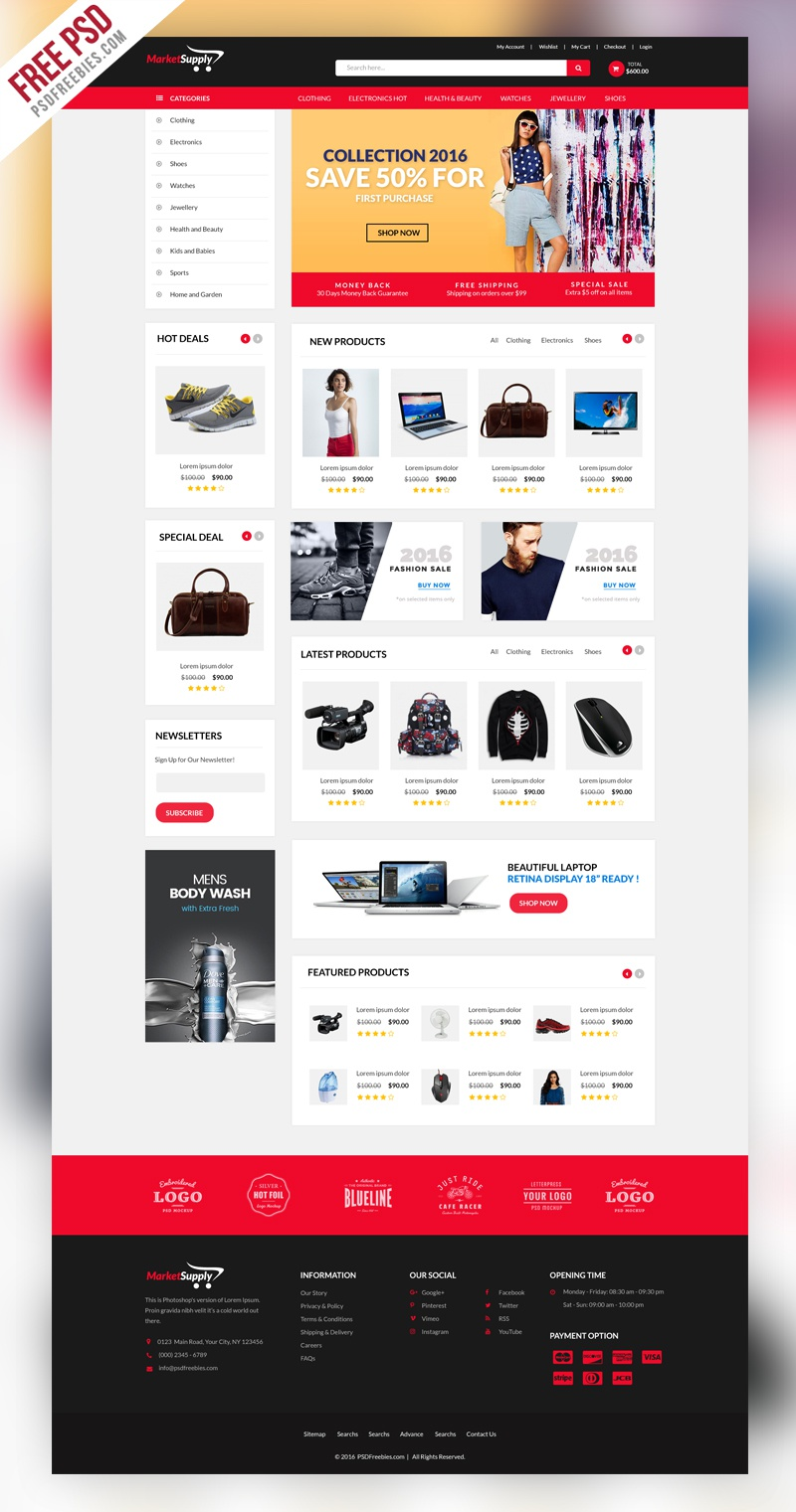 Creative multipurpose ecommerce website template psd preview