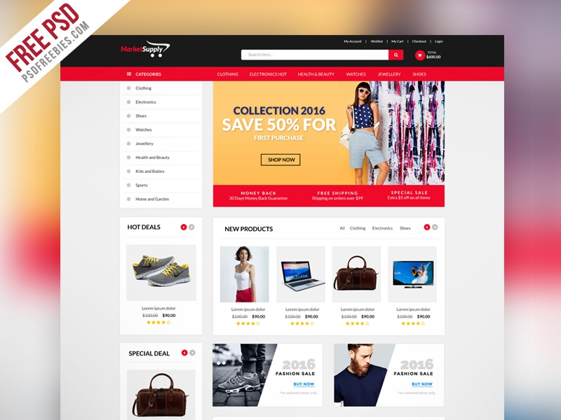 Creative multipurpose ecommerce website template psd