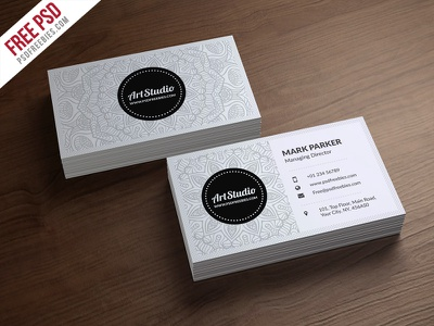 Freebie : Creative White Business Card Free PSD floral corporate cmyk creative photoshop template print ready white and black unique clean style freebie psd free psd