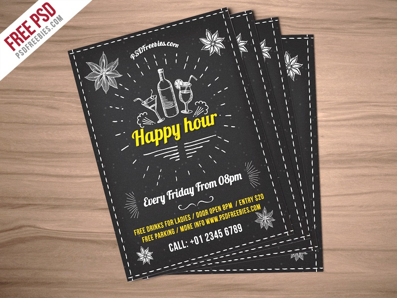 Freebie :  Happy Hour Party Invitation Flyer Free PSD pub bar beer party drink party invitation event flyer night club party happy hour flyer psd psd free psd
