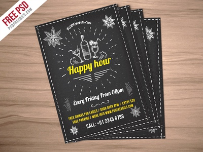 Freebie Happy Hour Party Invitation Flyer Free PSD by PSD Freebies