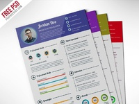 Professional resume cv template free psd preview