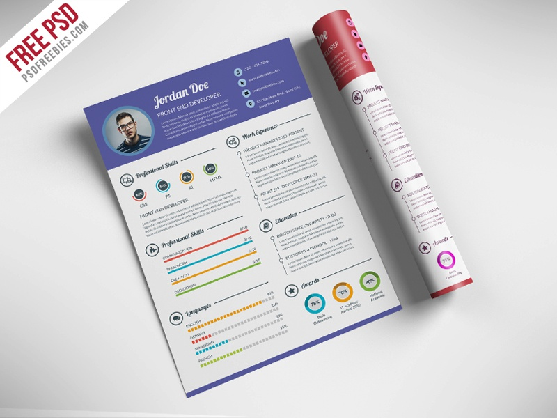 Infographic Resume Psd Template Designer Free Download . Free Professional  Resume Template ...