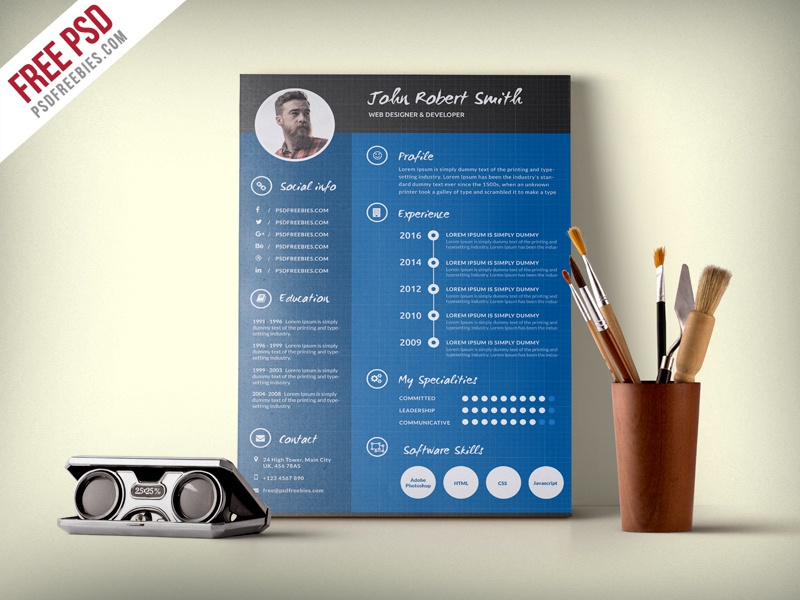 creative and professional resume cv free psd template by psd freebies