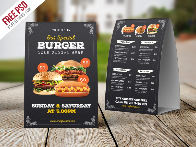 freebie fast food menu table tent template free psd by psd