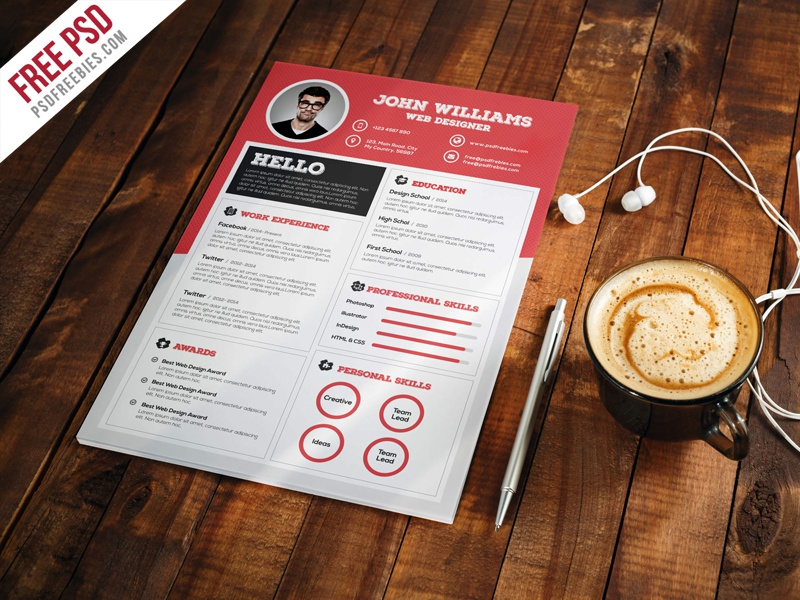 clean and sharp resume cv template free psd by psd freebies