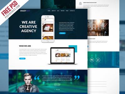 Freebie : Creative Agency Website Template Free PSD