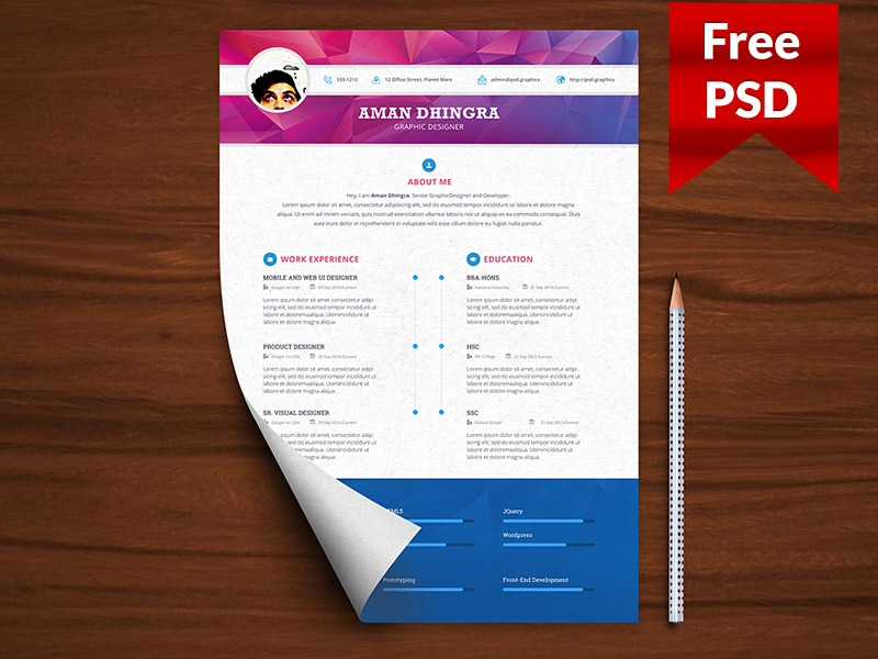 Professional Resume CV Template Free PSD By Freebies On