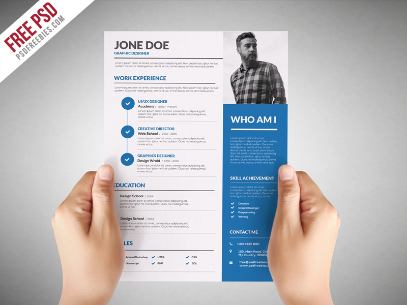 graphic designer resume template free psd - Graphic Resume Templates Free