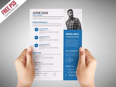 Freebie : Graphic Designer Resume Template Free PSD  Graphic Designers Resume