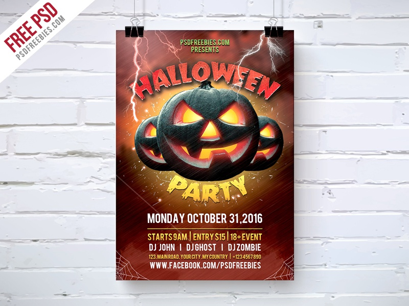 freebie halloween party flyer template free psd by psd freebies