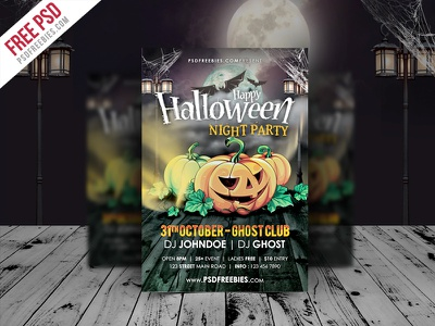 Freebie : Halloween Night Party Flyer Template PSD free psd psd flyer halloween flyer holiday nightclub pumpkin horror ghost party event party night halloween poster
