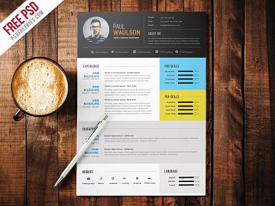 Freebie : Elegant Modern CV Resume Free PSD resume psd professional elegant resume graphic designer cv modern cv creative cv job resume cv freebie psd free psd