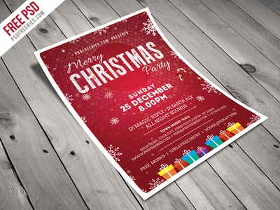 Freebie : Christmas Party Flyer Template Free PSD