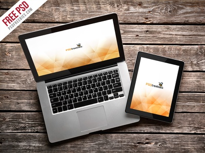 Freebie : Macbook Pro And Ipad Mockup Template PSD download mock-up showcase wooden desk responsive apple macbook pro ipad mockup psd free psd freebie