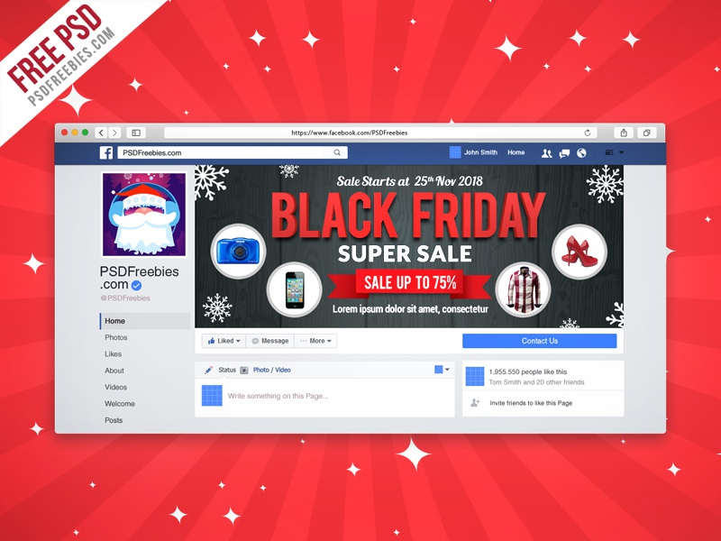 Freebie Black Friday Sale Facebook Cover Picture PSD Promotion Shopping Offer Timeline